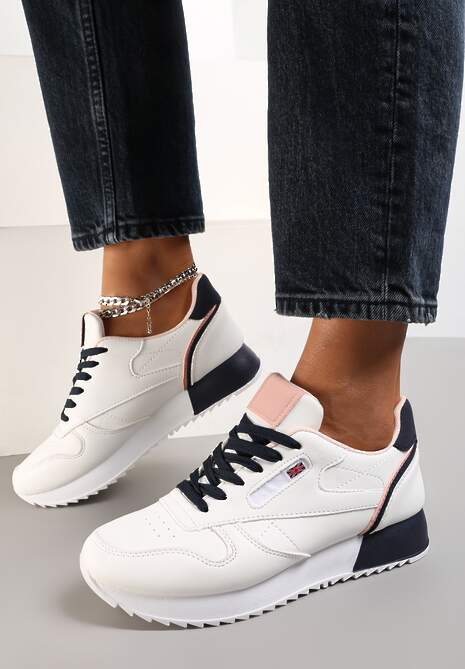 Biało-Granatowe Sneakersy Corarephis
