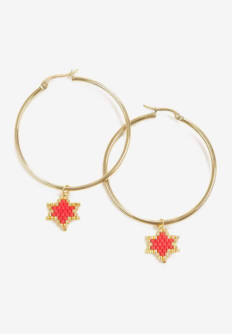 Złoto-Czerwone Kolczyki Hiriye
