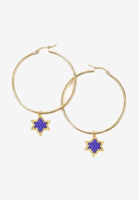 Złoto-Niebieskie Kolczyki Hiriye