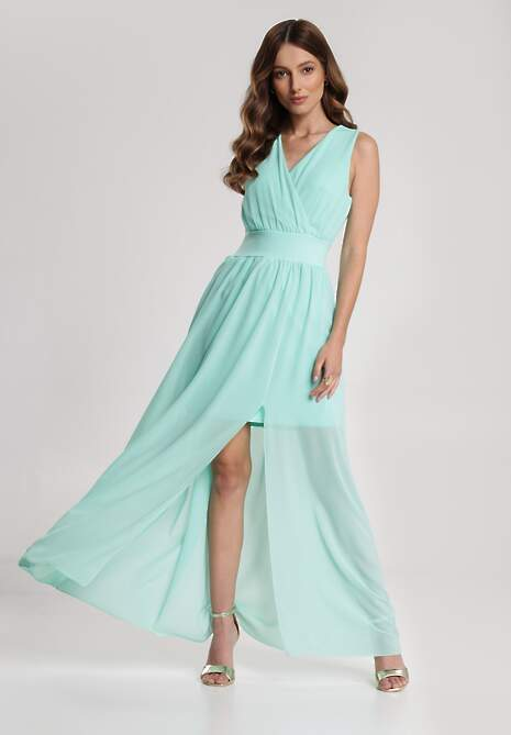 Miętowa Sukienka Helisine