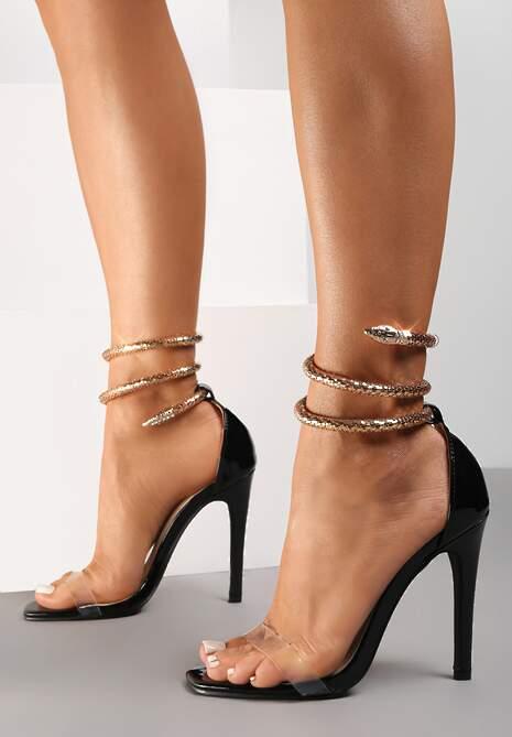 Czarne Transparentne Sandały Saphalane
