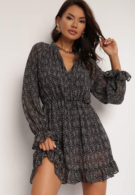 Czarno-Biała Sukienka Mezraya