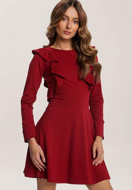 Bordowa Sukienka Uhrlenne