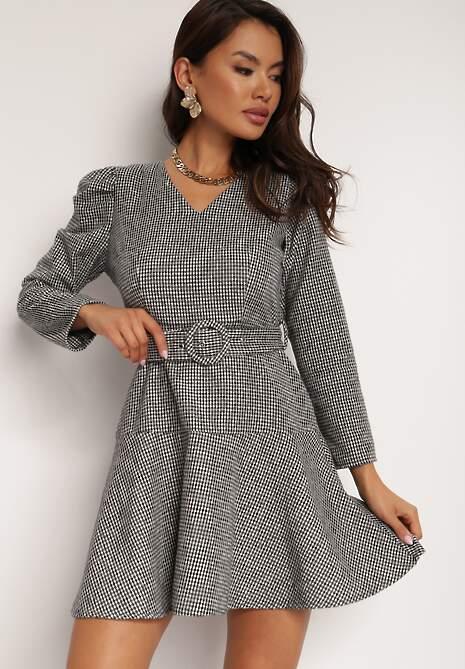 Czarno-Biała Sukienka Lilineli