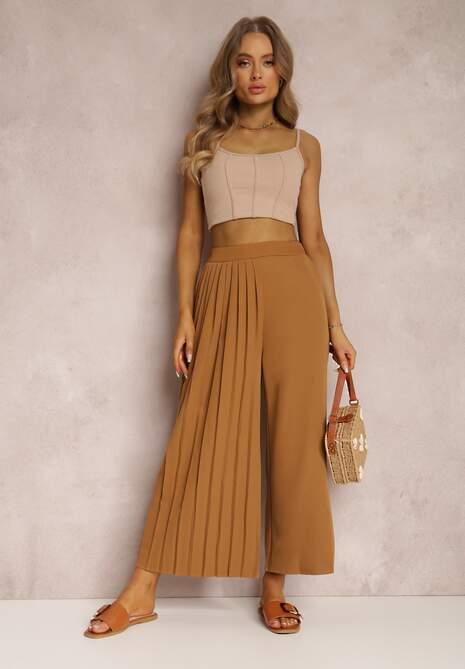 Ciemnobeżowe Spodnie Culottes Sarnixi