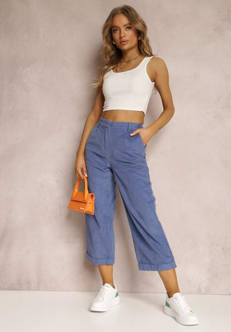 Granatowe Spodnie Culottes Harelnila