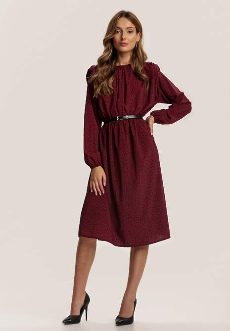 Bordowa Sukienka Savathera