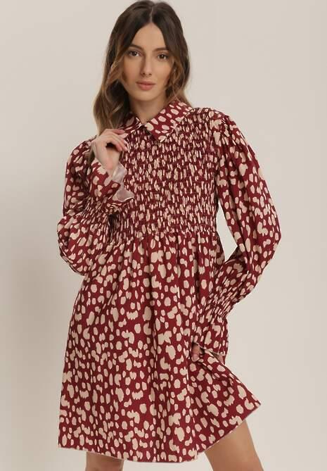 Bordowa Sukienka Isonoe