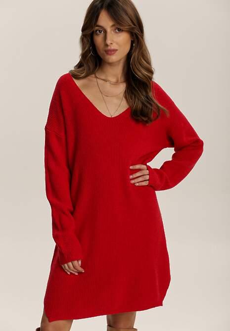 Czerwona Sukienka Dzianinowa Amantha