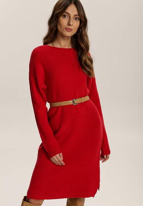 Czerwona Sukienka Dzianinowa Candala