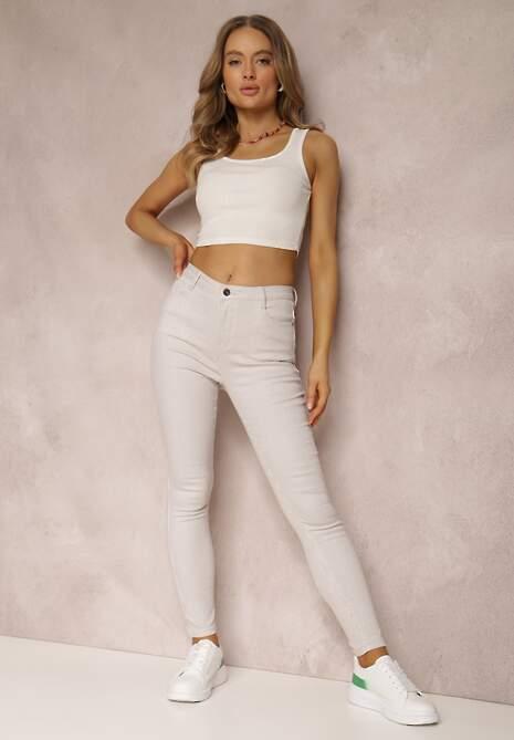 Jasnobeżowe Spodnie Skinny Laonilla