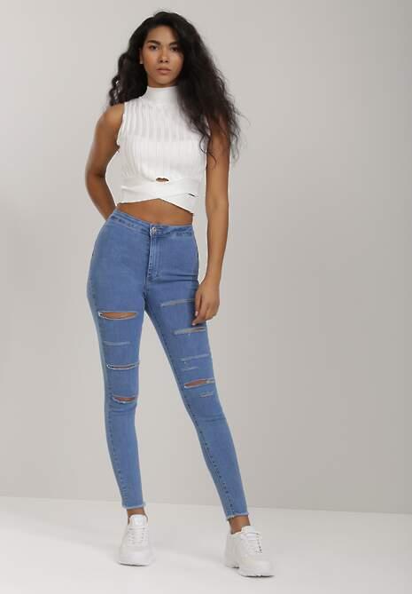 Niebieskie Jeansy Skinny Lysopheu