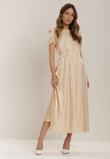 Beżowa Sukienka Damo