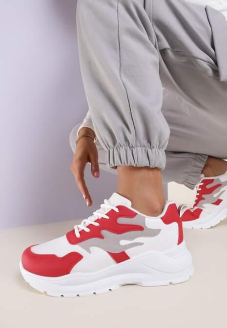 Bialo-Czerwone Sneakersy Reighley