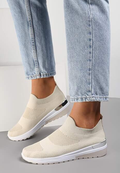 Beżowe Buty Sportowe Theseilla