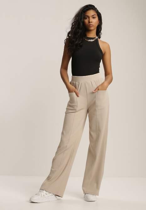 Beżowe Spodnie Dresowe Evithosi