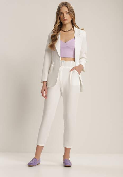 Białe Spodnie Cygaretki Daphyxio