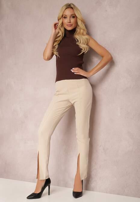 Jasnobeżowe Spodnie Cygaretki Bathusi