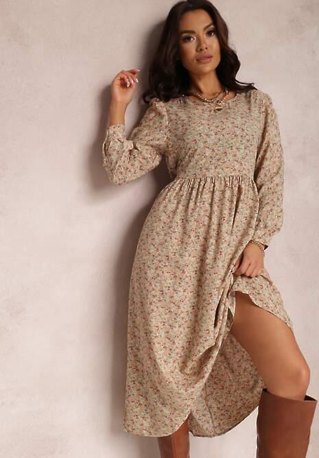 Beżowa Sukienka Palaleia