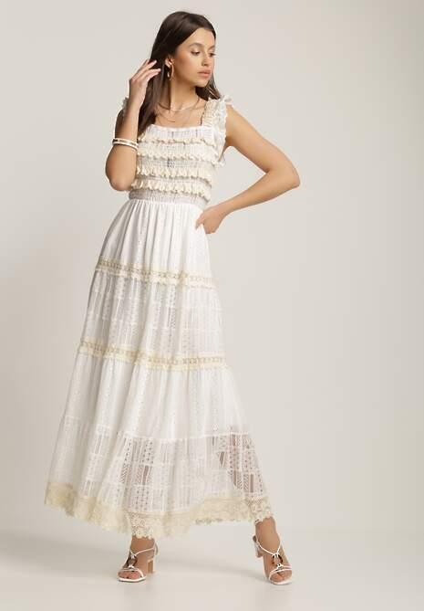 Biało-Beżowa Sukienka Selestine
