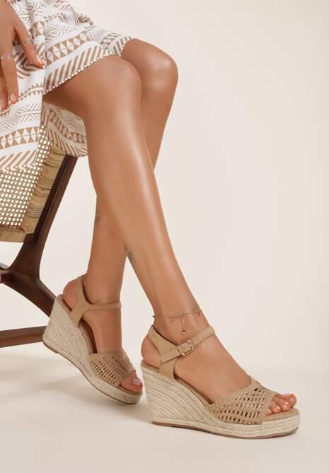 Ciemnobeżowe Sandały Praxymes