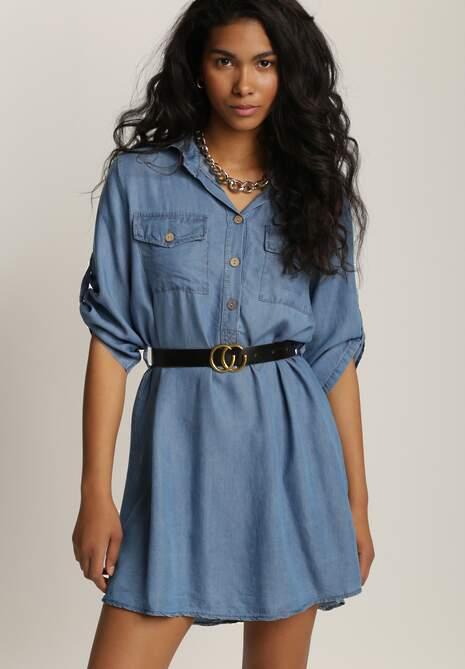 Niebieska Sukienka Z Paskiem Oriphenia