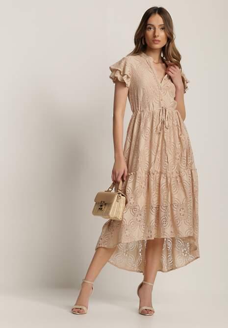 Jasnobeżowa Sukienka Meniphoche