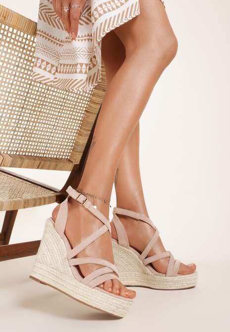Ciemnobeżowe Sandały Xanusei
