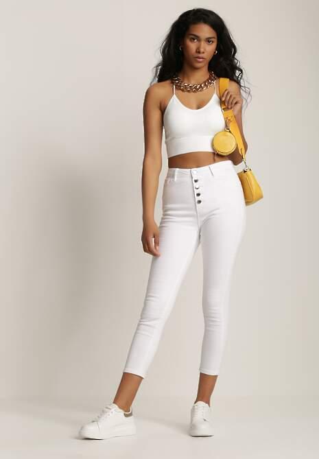 Białe Spodnie Skinny Zeliophai