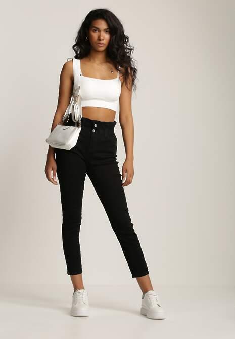 Czarne Spodnie Paper Bag Athaphaura