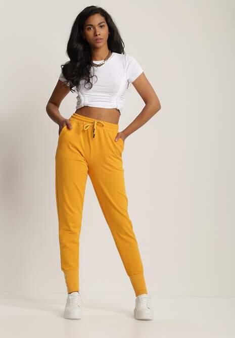 Żółte Spodnie Dresowe Kathyxo