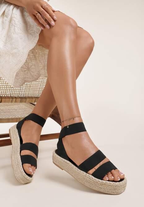 Czarne Sandały Siliche