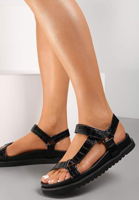 Czarne Sandały Crethistae