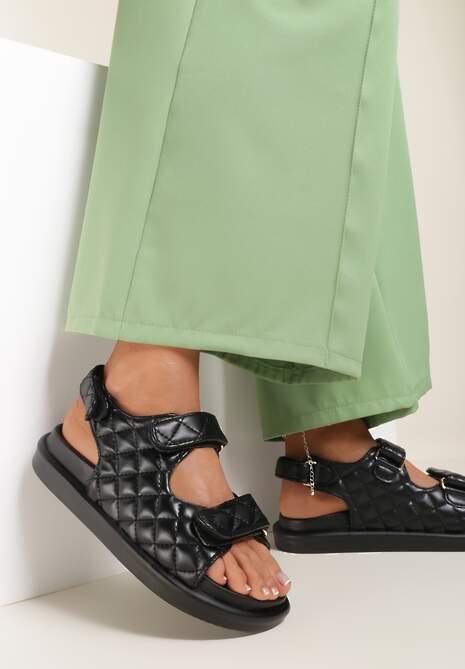Czarne Sandały Paphyphe