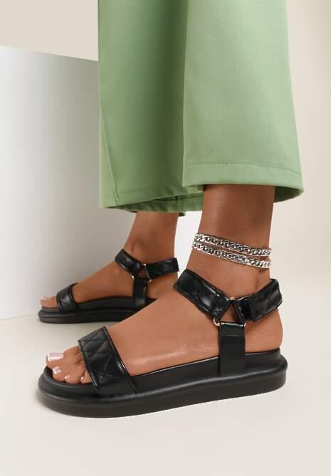 Czarne Sandały Sabacia