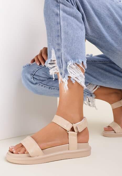 Ciemnobeżowe Sandały Sabacia