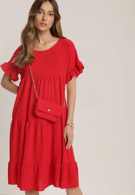 Czerwona Sukienka Z Małą Torebką Kaphiphelia