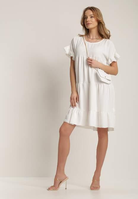 Biała Sukienka Z Małą Torebką Kaphiphelia