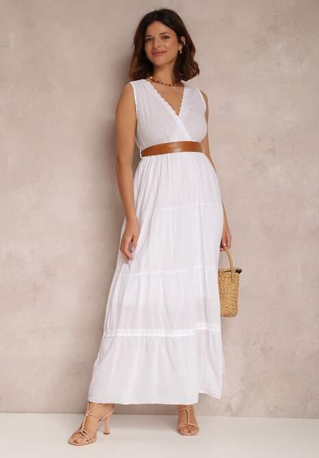 Biała Sukienka Z Paskiem Ylanixan