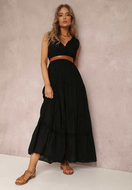 Czarna Sukienka Z Paskiem Ylanixan