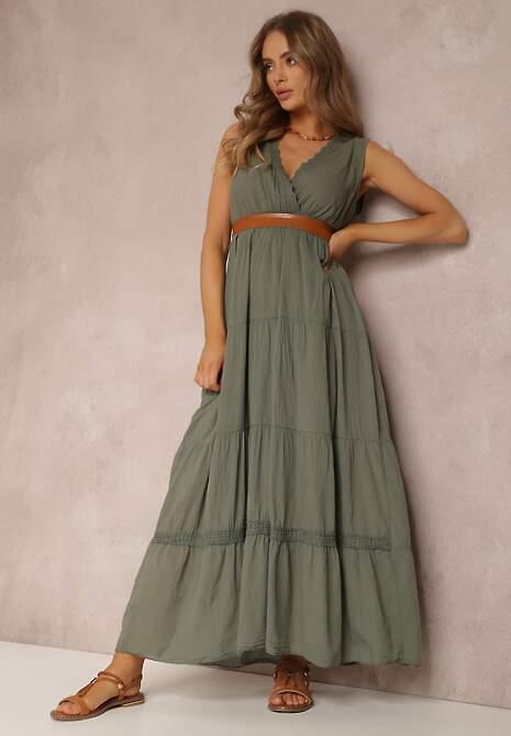 Zielona Sukienka Z Paskiem Ylanixan