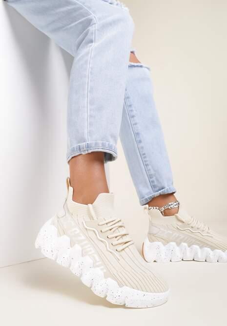 Beżowe Sneakersy Stephitrius
