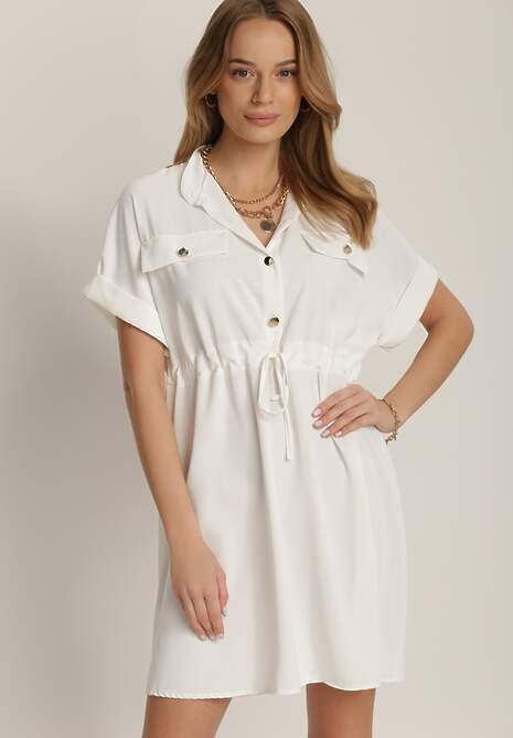 Biała Sukienka Acosisha