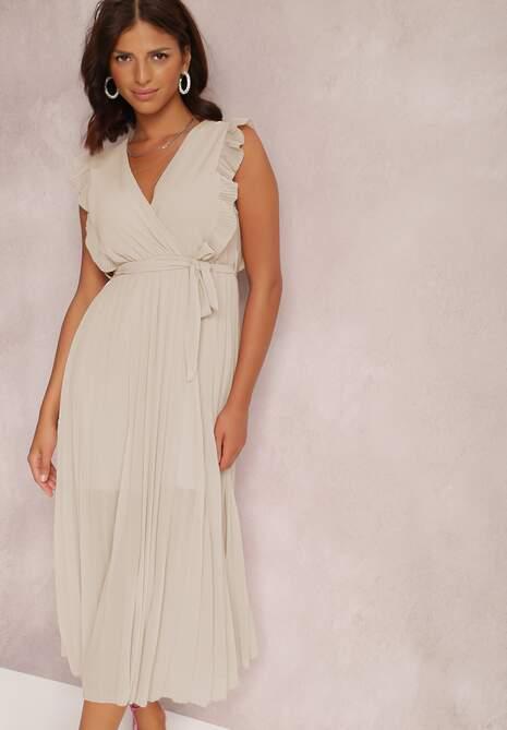 Beżowa Sukienka Phisoria