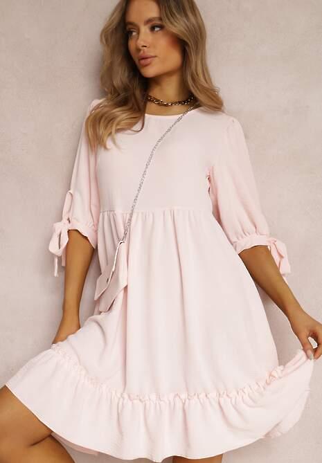 Jasnoróżowa Sukienka z Torebką Euphenohre