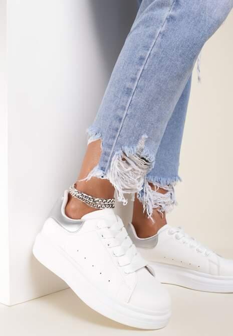 Biało-Srebrne Sneakersy Aelistae