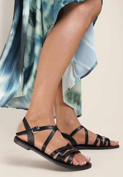 Czarne Sandały Poreidelia