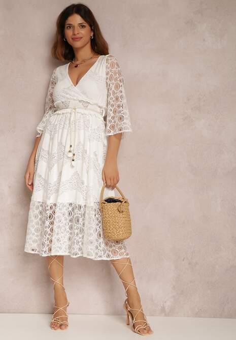 Biała Sukienka Z Paskiem Melomeda