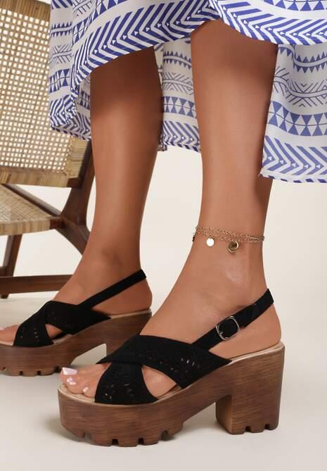 Czarne Sandały Rhaethusa