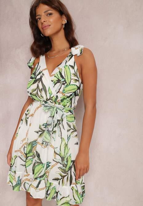 Biało-Zielona Sukienka Fyseresh